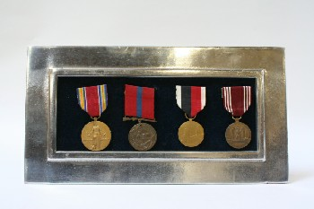 Wall Dec, Collection, CLEARABLE, 4 MEDALS W/SILVER FRAME, METAL, MULTI-COLORED
