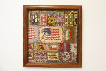 Wall Dec, Americana, CLEARABLE,STITCHED/PATCHWORK FABRIC W/FLAGS & PATTERNS, WOOD FRAME, FABRIC, MULTI-COLORED