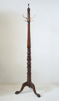 Coat Rack, Leg Base, 3 LEGS,BRASS HOOKS,CARVED,CLAW/BALL FEET, WOOD, BROWN