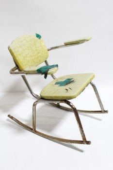Chair, Rocking, VINTAGE,SMALL,YELLOW PATTERNED VINYL SEAT & PADDED ARMS W/GREEN TAPE, TUBULAR FRAME W/RUST, CURVED ROCKERS, DISTRESSED , CHROME, YELLOW