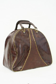 Sport, Bowling, BAG W/HANDLES & THIN GOLD TRIM, VINYL, BROWN