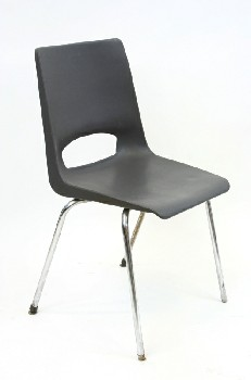 Chair, Stackable, MOLDED SEAT W/CHROME LEGS,ARMLESS , PLASTIC, BLACK