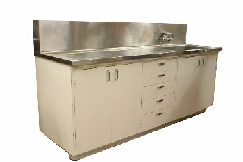 Counter, Misc, STAINLESS TOP W/BACKSPLASH & SINK/TAPS,4 DOORS & 5 DRAWERS, ROLLING , WOOD, WHITE