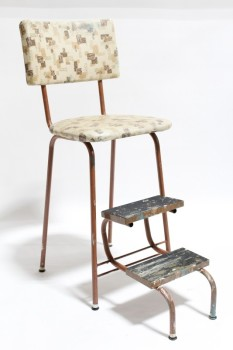 Chair, Step Stool , RETRO KITCHEN CHAIR W/2 FOLD OUT STEPS,PATTERNED SEAT, AGED/PAINT, VINYL, BROWN