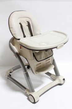 Chair, Child's, BABY,CONTEMPORARY HIGH CHAIR W/TRAY, ROLLING, USED , PLASTIC, BEIGE
