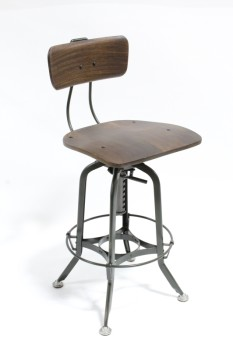 Stool, Backrest, VINTAGE 1940s INDUSTRIAL/DRAFTING STYLE, BROWN WOOD SWIVEL SEAT W/BACK, ARMY GREEN METAL LEGS W/FOOT RING, WOOD, BROWN
