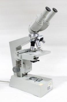 Science/Nature, Microscope, LAB, DOUBLE EYEPIECE, USED, METAL, GREY