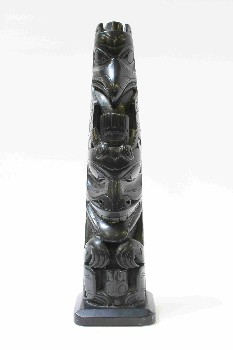 Decorative, Totem, NATIVE,TOTEM POLE, RESIN, BLACK