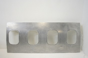 Wall Dec, Misc, AIRPLANE FUSELAGE/SIDE W/4 PORTHOLE WINDOWS THAT LIGHT UP, STAINLESS STEEL, GREY