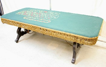 Table, Games, CASINO/GAMBLING,GREEN FELT TOP W/GOLD FRINGE, WOOD, BROWN