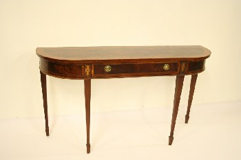Table, Console, SOFA/HALL TABLE,BURLED VENEER TOP & APRON,TAPERED LEG, 1 DRAWER, WOOD, BROWN