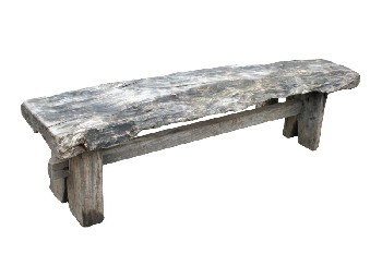 Bench, Rustic, LOG PLANK SEAT W/LOWER STRETCHER,RUSTIC, WOOD, NATURAL