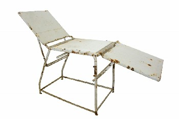 Medical, Table, VINTAGE FOLDING MEDICAL EXAMINATION TABLE,ADJUSTABLE LEVELS,6' WIDE WHEN FOLDED OUT COMPLETELY, RUSTY/AGED, METAL, WHITE