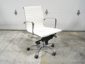 Chair, Office, RIBBED/LINED SEATING, LOW BACK, ADJUSTABLE, STEEL FRAME, ROLLING, HANDLE ON BACK, POLYURETHANE, WHITE