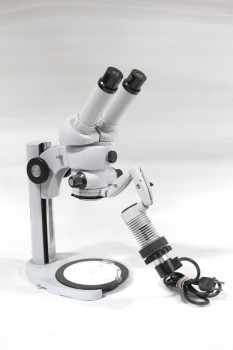 Science/Nature, Microscope, LAB, DOUBLE EYEPIECE, EXTENDING ARM, USED, METAL, GREY