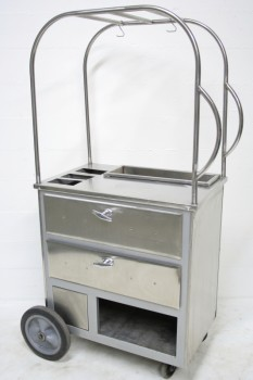 Cart, Vending , REFRESHMENT/COFFEE/SNACK CART W/4 SLOTS & 2 DRAWERS, ROUNDED TOP FRAME, ROLLING , STAINLESS STEEL, SILVER
