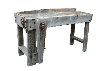Table, Rustic, WORK BENCH W/CLAMP, RUSTIC, WOOD, NATURAL