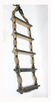 Ladder, Rope, 5 WOOD STEPS, CONNECTED W/RUBBER & ROPE, APPROX. 64