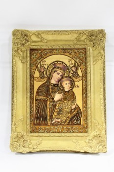 Art, Miscellaneous, CLEARABLE,RELIGIOUS,VIRGIN MARY & BABY JESUS,CUTOUT PRINT ON WOOD, ORNATE FRAME , WOOD, GOLD