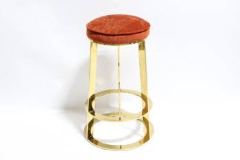 Stool, Round, DARK ORANGE CUSHION, FLARED BRASS FRAME W/DOUBLE RING BASE , METAL, BRASS