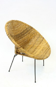 Chair, Rattan, WOVEN/WICKER BOWL CHAIR W/BLACK METAL LEGS, RATTAN, NATURAL