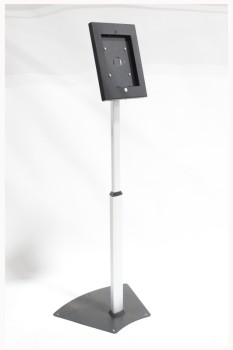 Stand, Miscellaneous, FREESTANDING W/ANGLED DISPLAY, HOLDS TABLET OR TOUCHSCREEN, ADJUSTABLE HEIGHT , METAL, BLACK
