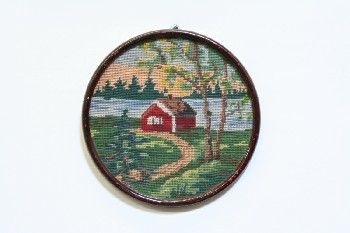 Wall Dec, Stitched, CLEARABLE,NEEDLEPOINT,RED CABIN BY WATER, ROUND WOOD FRAME , EMBROIDERY, MULTI-COLORED