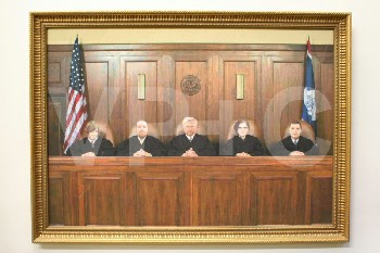 Art, Photo, CLEARED,AMERICANA,5 SUPREME COURT JUDGES, ORNATE GOLD FRAME, WOOD, MULTI-COLORED