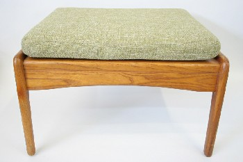 Stool, Ottoman, MID CENTURY MODERN W/TWEED CUSHION, WOOD, GREEN