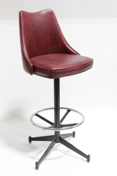 Stool, Backrest, CURVED BACK,PIVOTING SEAT,LOWER RING, VINYL, BURGUNDY