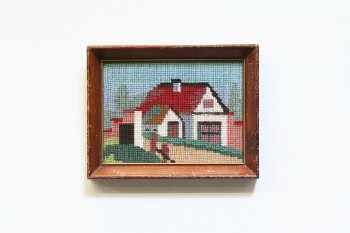 Wall Dec, Stitched, CLEARABLE,NEEDLEPOINT,HOUSE W/SHED, BROWN AGED WOOD FRAME, EMBROIDERY, MULTI-COLORED
