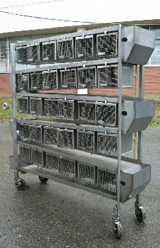 Cage, Laboratory, UNIT W/30 SMALL SIZED LAB ANIMAL CAGES & SIDE CONTAINERS, ROLLING , STAINLESS STEEL, SILVER