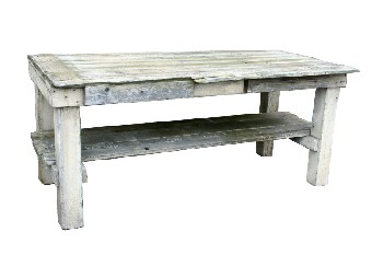 Table, Rustic, THICK LEGS,PLANK TOP,LOWER LEVEL,MISSING DRAWER, RUSTIC, WOOD, OFFWHITE
