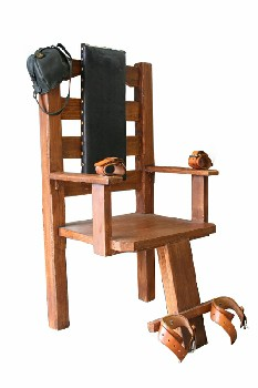 Chair, Misc, MOVIEMADE 3 LEG ELECTRIC CHAIR W/LEATHER ANKLE & WRIST RESTRAINT STRAPS & BLACK LEATHER SKULL CAP, STUDDED BLACK LEATHER SEAT BACK, WOOD, BROWN