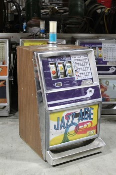 "Game, Casino , 25c SLOT MACHINE, SIDE PULL LEVER W/BLACK BALL END, BROWN LAMINATE SIDES, ""JAZZ AGE"" GRAPHIC PANEL, TOP LIGHT, METAL, YELLOW"