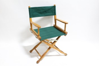 Chair, Folding, DIRECTOR,GREEN CANVAS SEAT & BACK, FOLDING BROWN WOOD FRAME, WOOD, GREEN