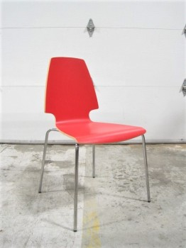 Chair, Dining, MODERN, LAMINATE SEATING, STEEL LEGS, LAMINATE, RED