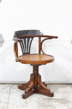 "Chair, Captain, CAPTAINS STYLE BAR STOOL/CHAIR, BLACK & BROWN ROUNDED BENTWOOD FAN BACK W/ARMS, SWIVEL, ""X"" BASE , WOOD, BROWN"