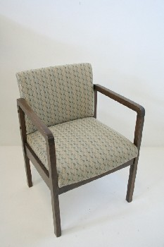 Chair, Client, SQUARE ARMS/LEGS, PATTERNED FABRIC SEAT , WOOD, BROWN