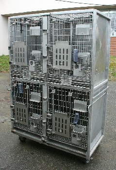 Cage, Laboratory, UNIT W/4 LARGE/PRIMATE SIZED LAB ANIMAL CAGES, 9