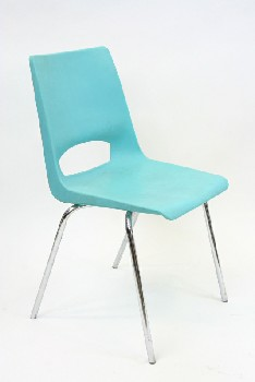 Chair, Stackable, MOLDED SEAT W/CHROME LEGS, ARMLESS , PLASTIC, BLUE