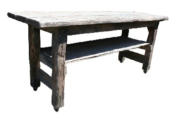 Table, Rustic, 3 SLAT LOWER LEVEL,ROLLING, RUSTIC (Not Identical To Photo - Lower Shelf Is Missing), WOOD, NATURAL