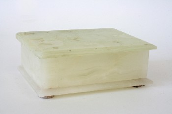 Box, Jewelry, RECTANGULAR W/HINGED LID, ONYX OR MARBLE LOOK, MARBLE, GREEN