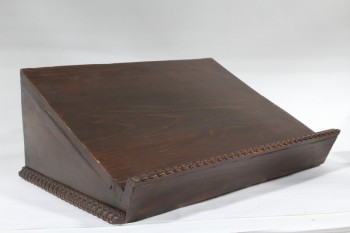 Podium, Tabletop, LECTERN,BOOK STAND,SLANTED,CARVED TRIM, WOOD, BROWN