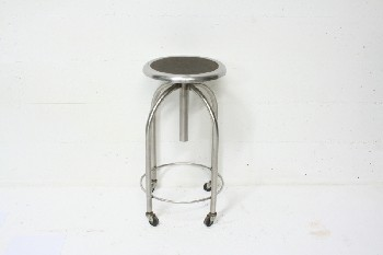 Stool, Stainless, MEDICAL,ROUND SEAT W/BROWN TOP,ROLLING, STAINLESS STEEL, SILVER