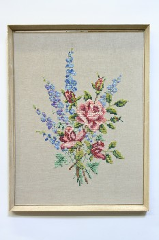Wall Dec, Stitched, CLEARABLE,NEEDLEPOINT,FLOWERS,ROSES/LAVENDER W/LEAVES, WOOD FRAME, EMBROIDERY, MULTI-COLORED
