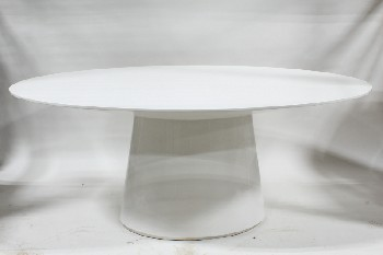 Table, Dining, MODERN HIGH GLOSS LACQUER, OVAL TOP, FLARED OVAL BASE, WOOD, WHITE