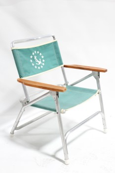 Chair, Folding, OUTDOOR/LAWN, GREEN CANVAS SEAT W/WHITE ANCHOR, WOOD ARMS, CANVAS, GREEN