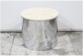 Table, Side, DRUM/CYLINDER, ROUND BEIGE MARBLE TOP, REFLECTIVE METAL SIDES , METAL, BEIGE