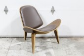 "Chair, Lounge, MODERN/1960s REPRODUCTION, MOLDED PLYWOOD, 3 ARCHED/BENTWOOD LEGS, DARK BROWN LEATHER PADDED SEAT & BACK, ""WING"" OR ""SMILE"" CHAIR STYLE, WOOD, BROWN"